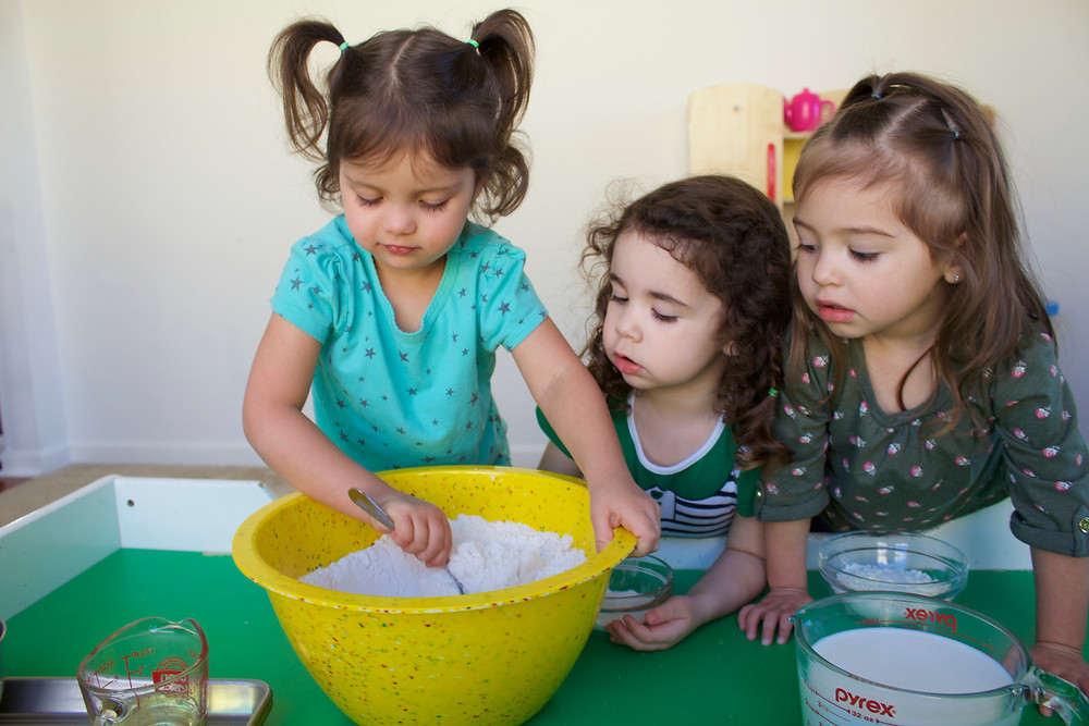 Blue Sky Daycare home daycare children make Traditional Irish Soda Bread