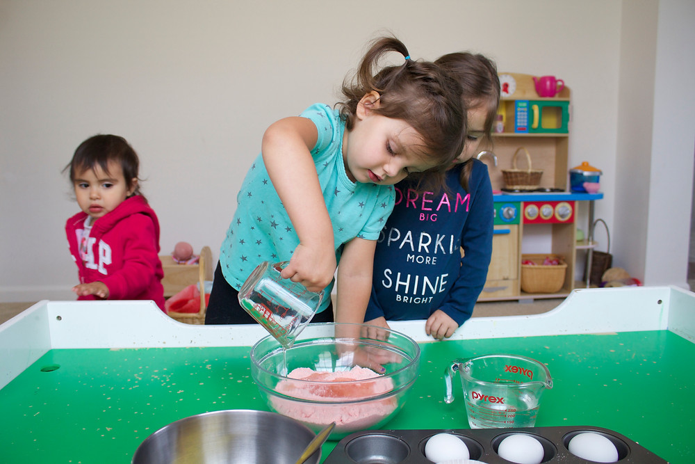 Making cupcakes at Blue Sky Daycare home daycare