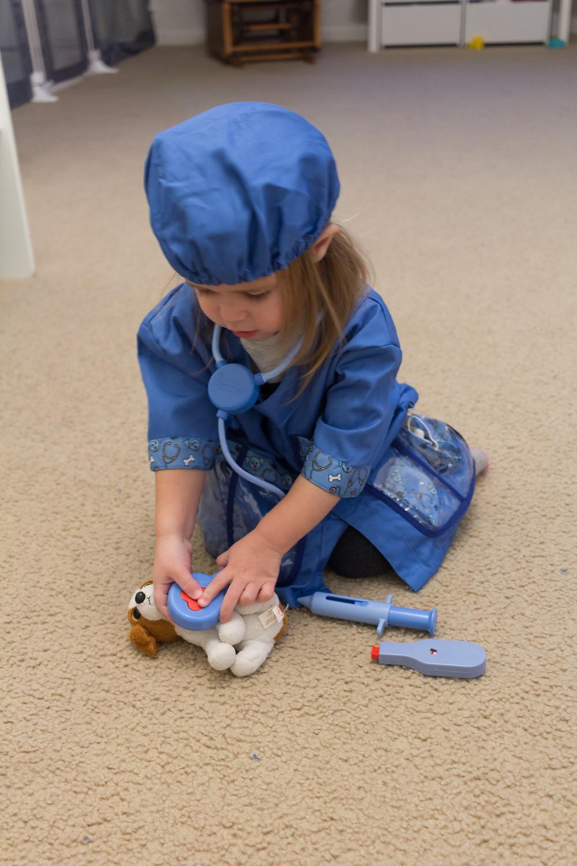 A Blue Sky Daycare child dresses up as a vet