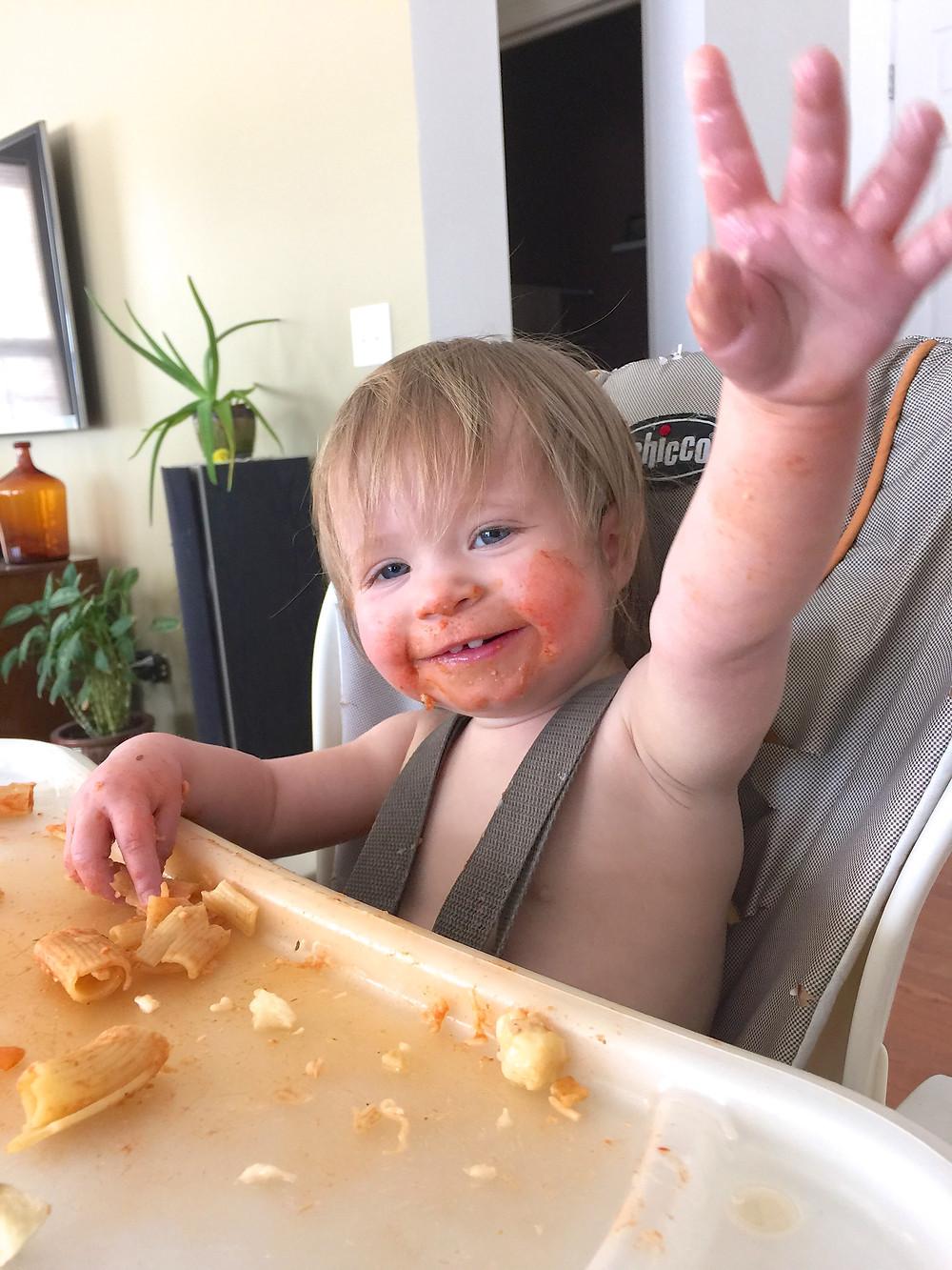 Blue Sky Daycare home daycare child enjoying lunch