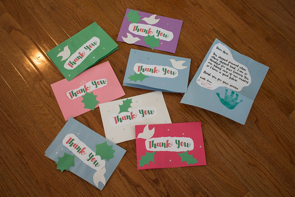 """Cards for military personnel made during """"Random Acts of Kindness"""" campaign at Blue Sky Daycare"""