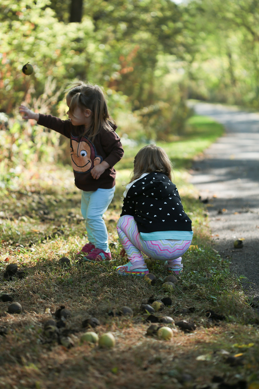 Blue Sky Daycare children test their throwing skills with wild walnuts