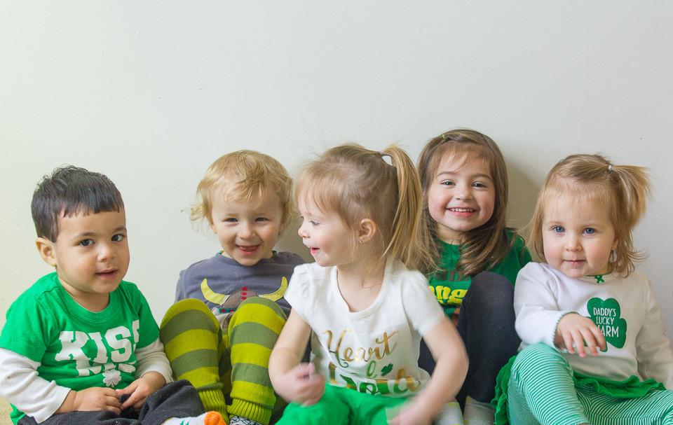 Blue Sky Daycare children show their St. Patrick's Day spirit!