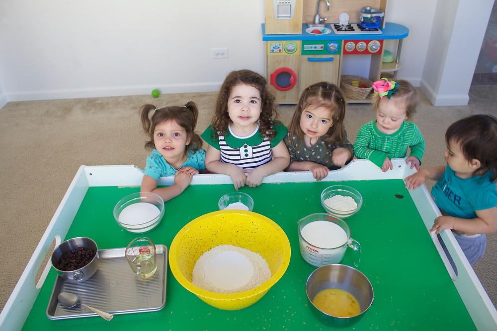Blue Sky Daycare home daycare children prepare to make Traditional Irish Soda Bread