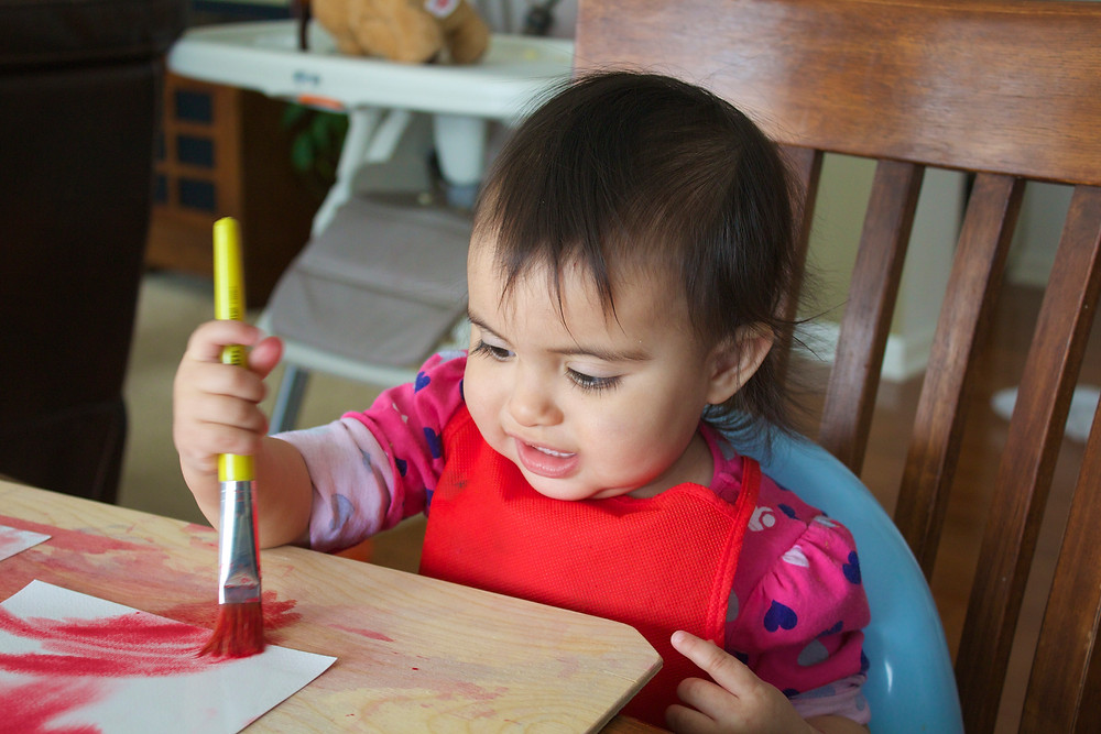 Blue Sky Daycare home daycare child doing watercolor art