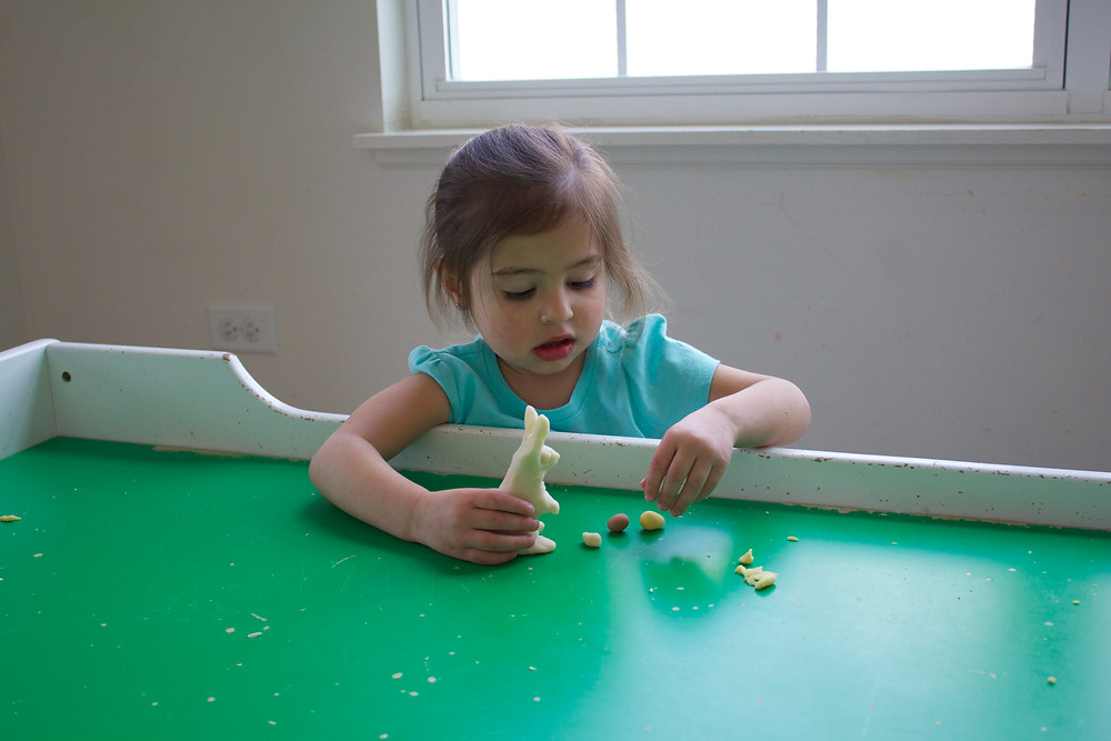 Blue Sky Daycare home daycare children playing with homemade scented  play dough