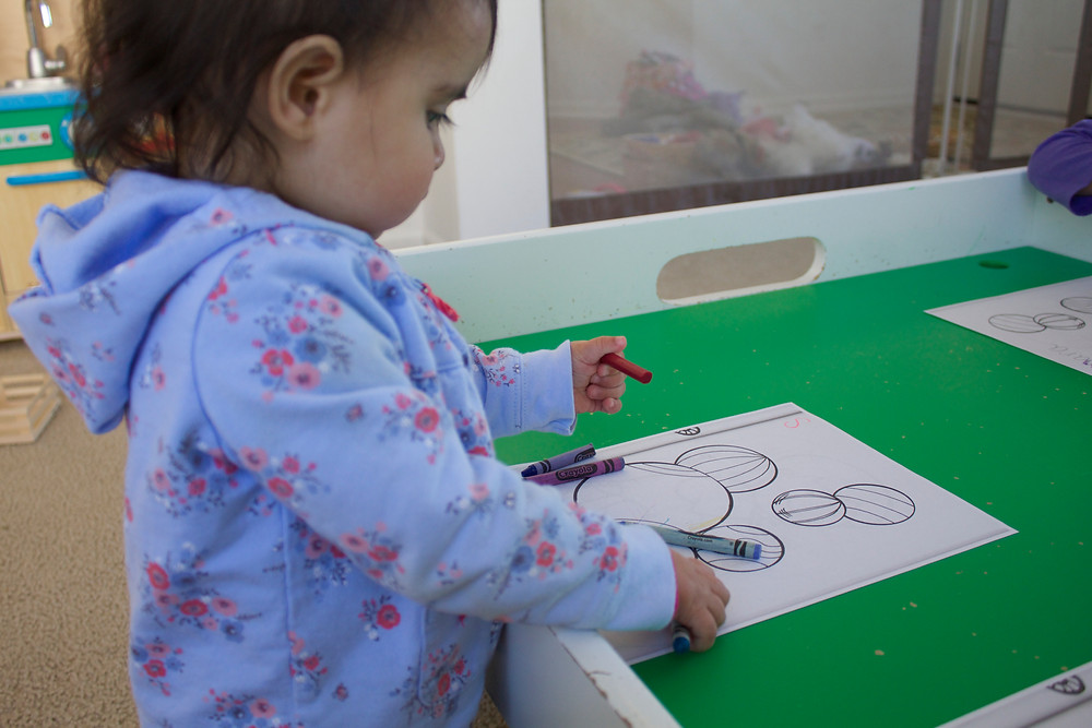 Blue Sky Daycare home daycare children doing process art