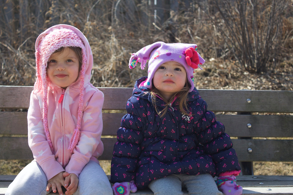Blue Sky Daycare children pose during a nature walk