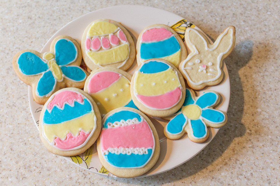 Easter cookies made by the Blue Sky Daycare children