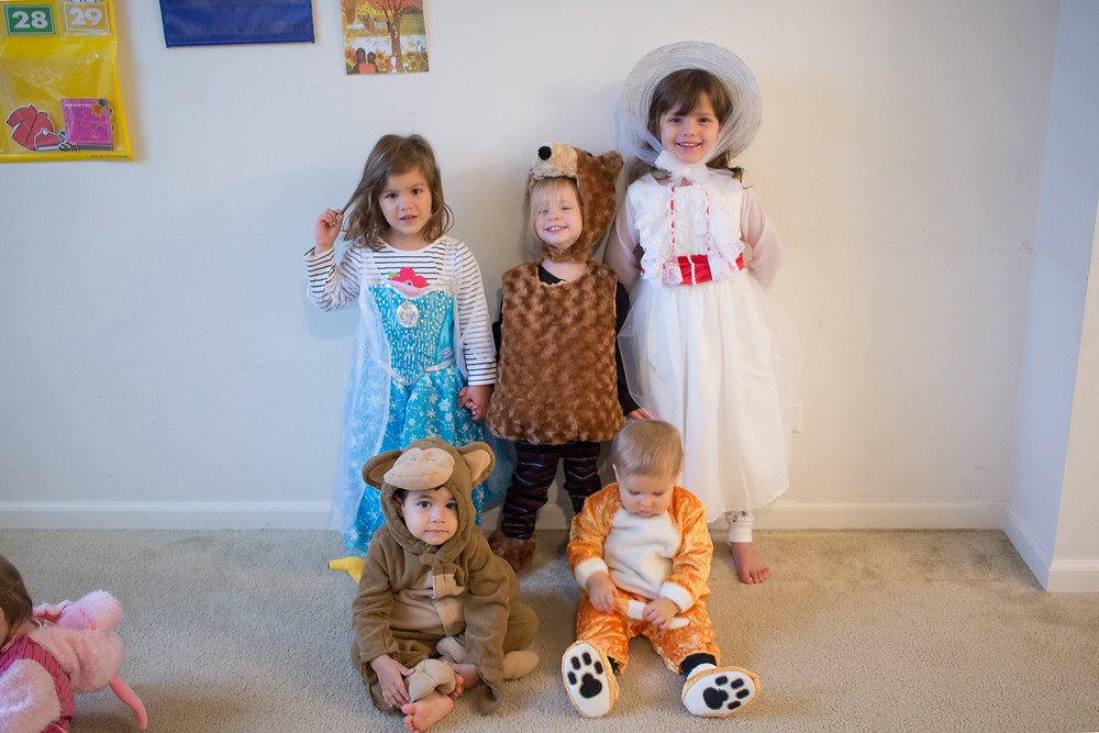 Costume time!  The Blue Sky Daycare kids get dressed for Halloween!