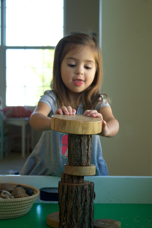 Blue Sky Daycare home daycare child enjoys block play