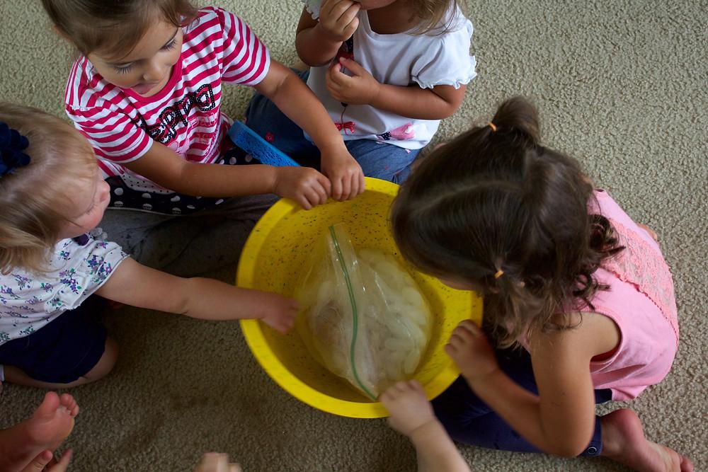 Blue Sky Daycare home daycare children make ice cream