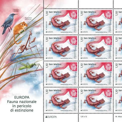 Francobolli serie EUROPA 2021 - Fauna nazionale in pericolo di estinzione