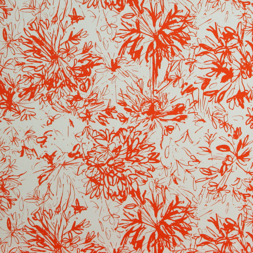 Orange Floral Fabric for Curtains and Upholstery