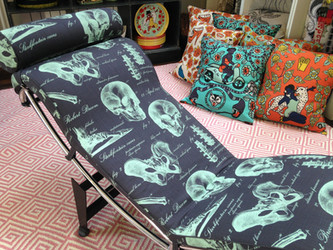 Ardmore Fabric bespoke restored lazy chair