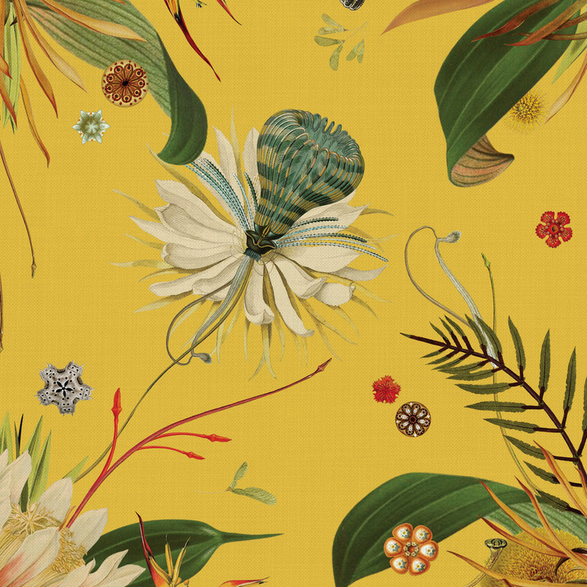 Yellow Floral Fabric for Upholstery and Curtains