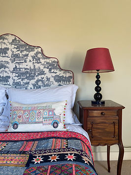 Blue Toile Bespoke Headboard with Red Trim
