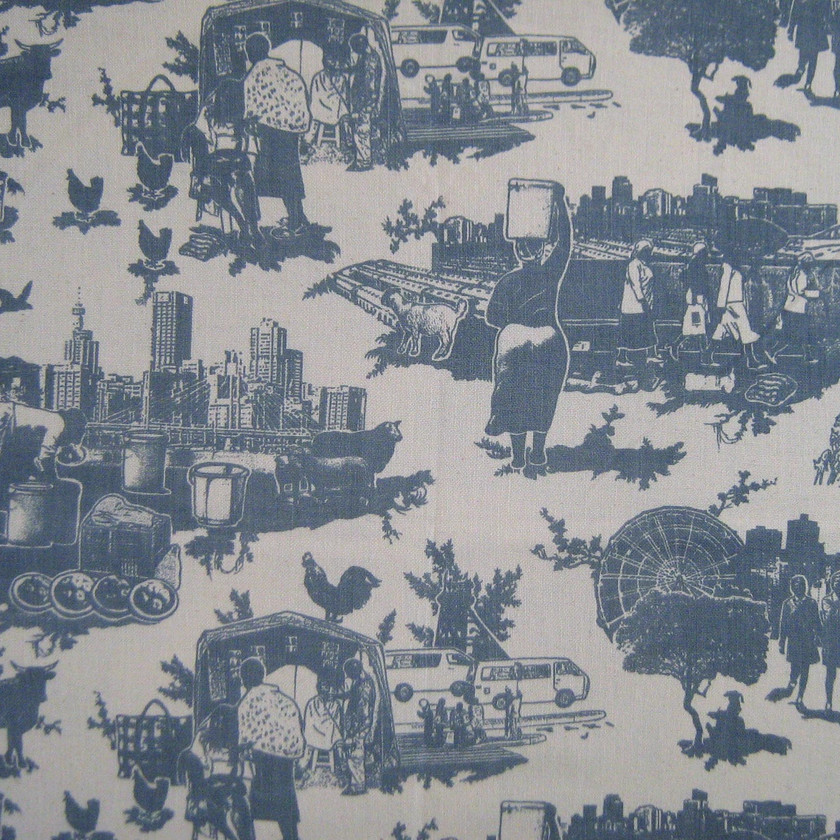 Toile du Jozi Fabric in Navy