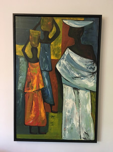 African ladies and water pots painting