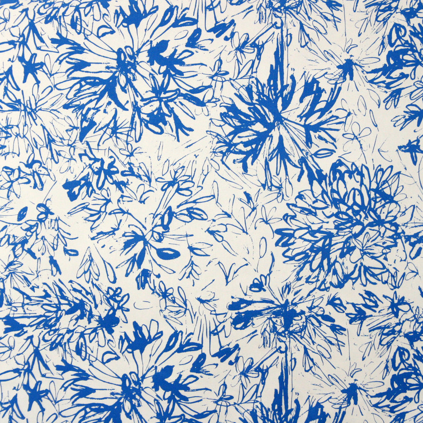 Blue Floral Fabric for Curtains and Upholstery