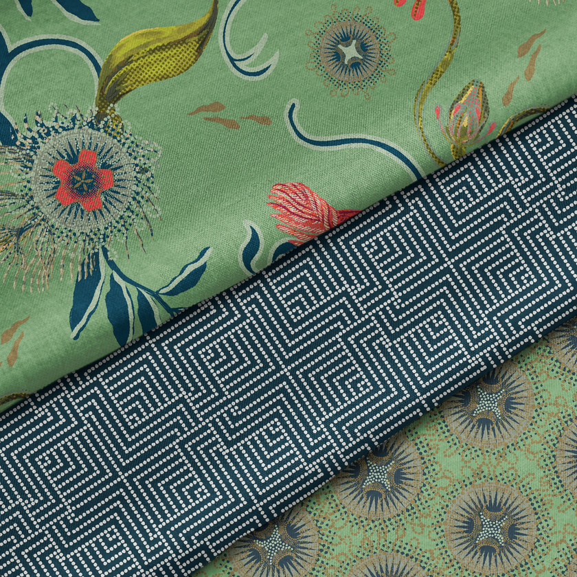 Green and Blue Floral and Geometric Fabrics for Upholstery and Curtains