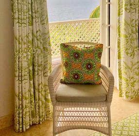 Tropical greens bespoke cushion