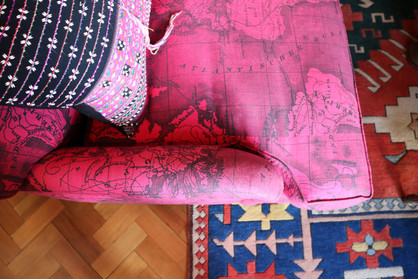 Pink Africa Map Upholstered Cushion