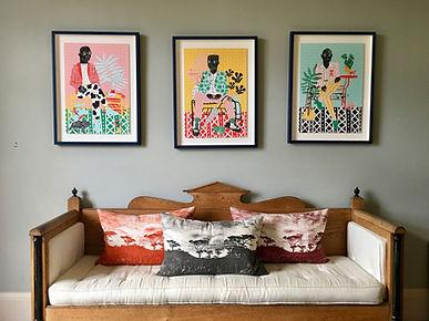 swedish bench and african prints.jpeg