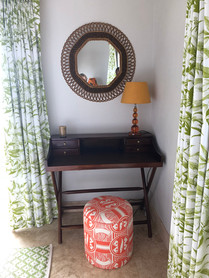 Orange and Greens, Bespoke Curtains and Drumstools