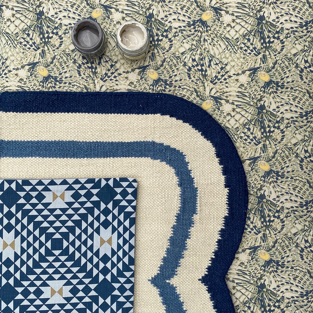 Navy Geometric and Firefish Moodboard including Jennifer Manners rug