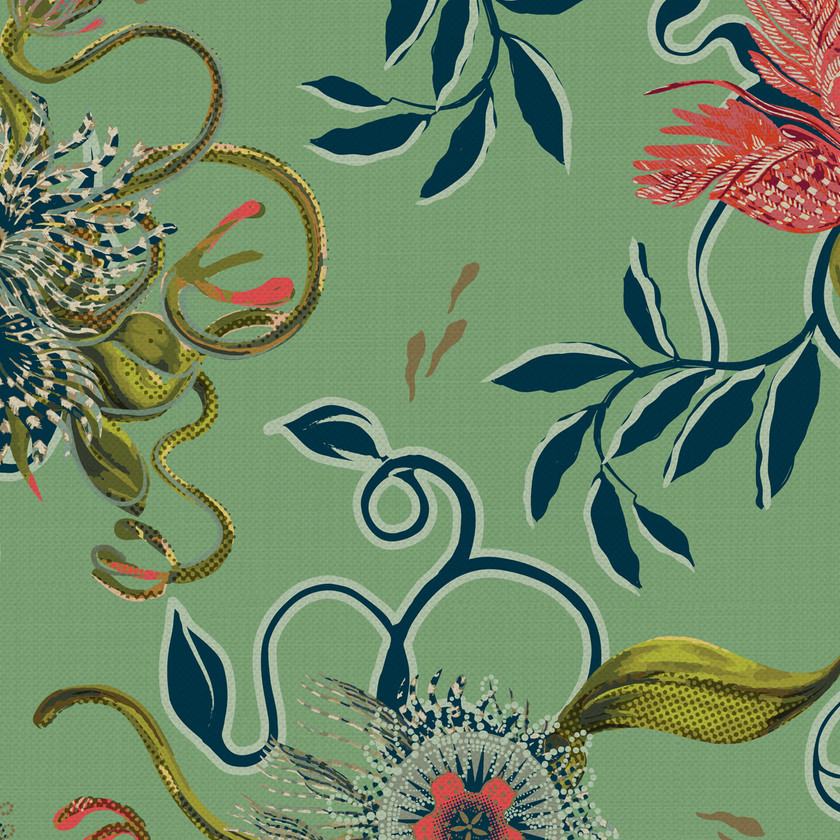 Eden Botanical Green Fabric for Curtains and Upholstery