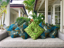 Outdoor Wax Blue and Green Cushions