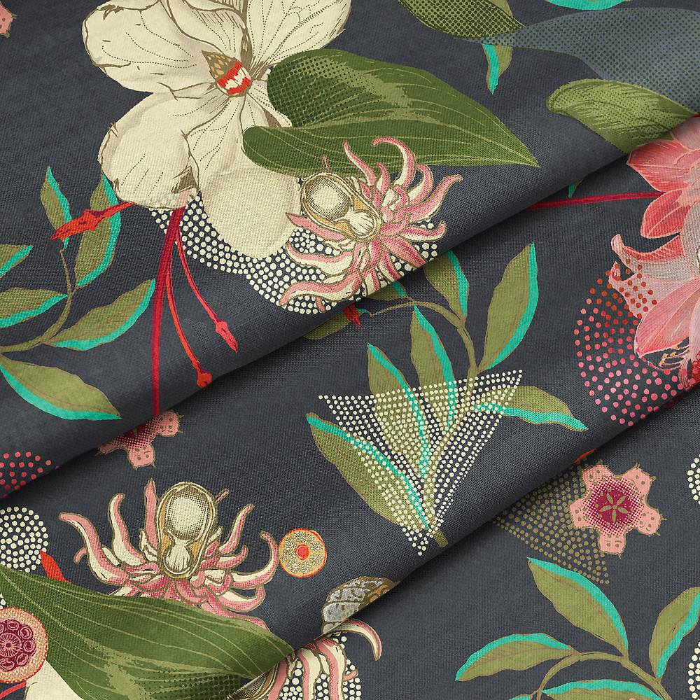 Eden Navy Floral Fabric for Curtains and Upholstery
