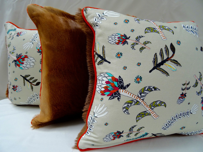 Protea & Impala bespoke cushions