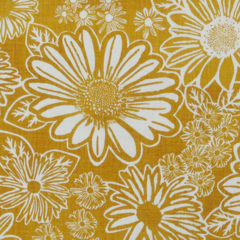 Daisy Yellow Fabric for Curtains and Upholstery