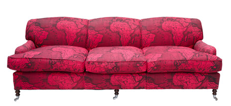 Pink Africa Map Upholstered Sofa