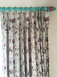 Bespoke Curtains with Handpainted curtain poles
