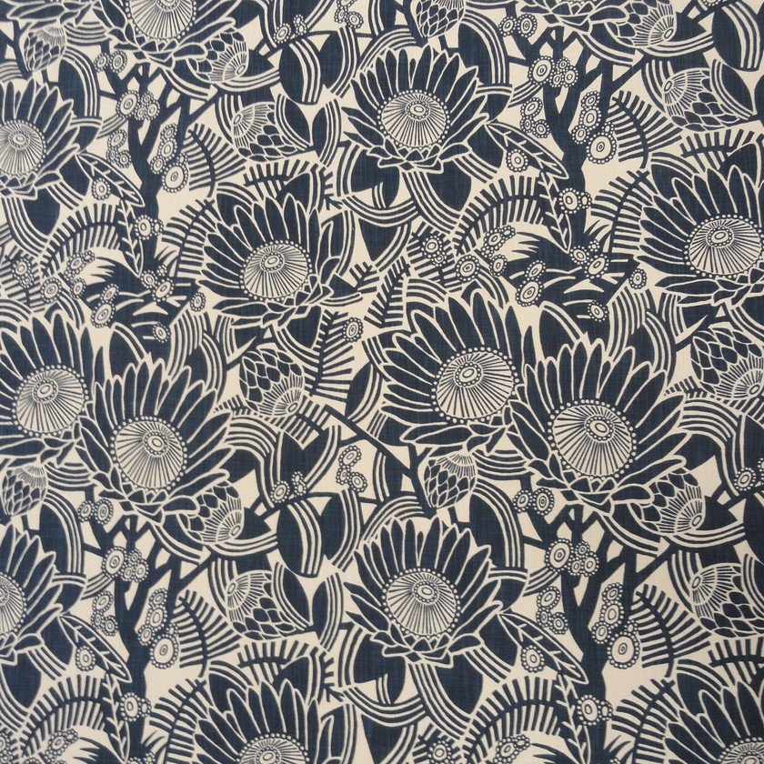 After the Fire, Navy Floral Fabric for Curtains and Upholstery