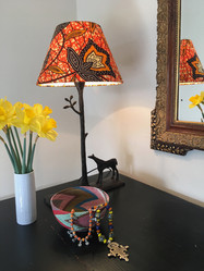 Orange African Wax fabric lamp shade.jpg