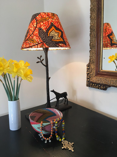 Orange African Wax fabric lamp shade.jpg
