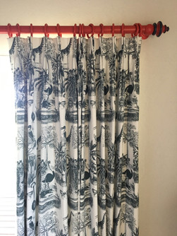 African Jungle curtains & painted pole.j