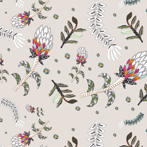 Protea Fabric Floral Pinks Greens and Whites