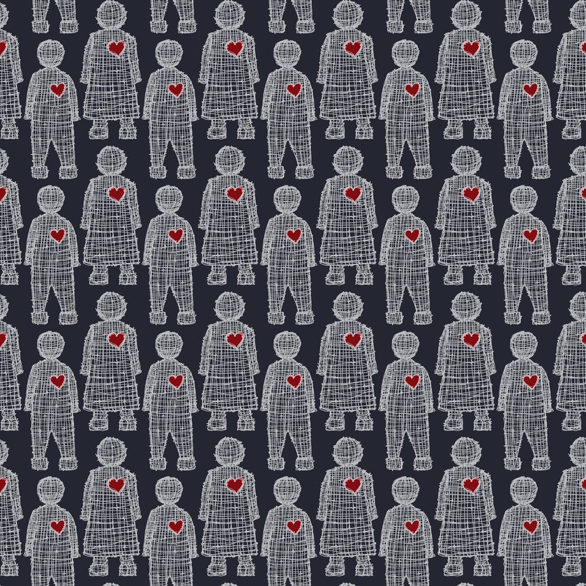 Love Doll Fabric in Navy