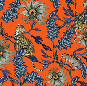 Ardmore fabric with leopard and monkey Orange