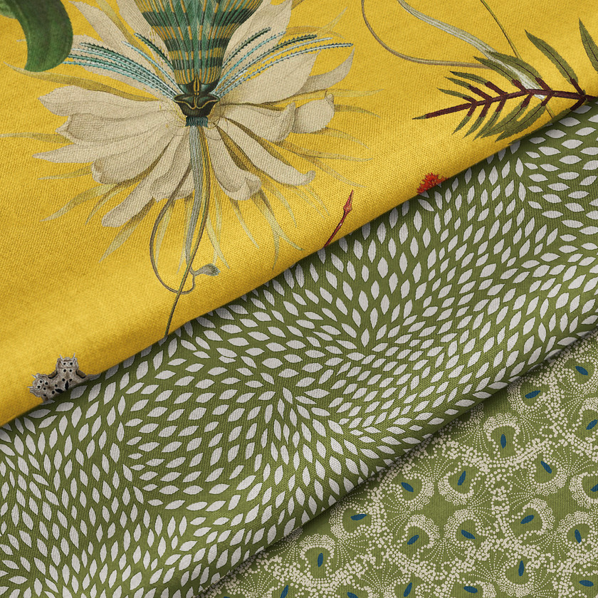 Yellow and Greens Fabrics for Upholstery and Curtains