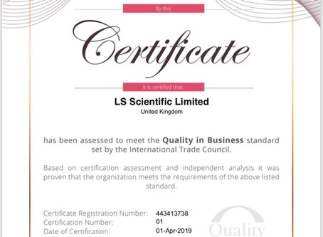 LS Scientific Certified for Quality in Business