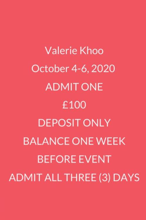 DEPOSIT TO ATTEND ALL 3 DAYS