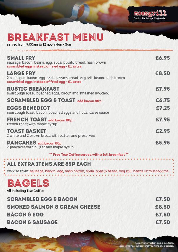 Moes Grill Antrim Breakfast Menu ONLY 8.