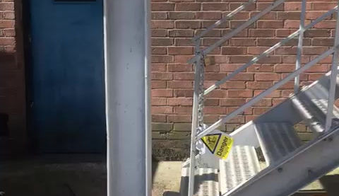 Dogs training on emergency staircase