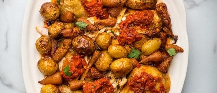 Peri peri  chicken with potato bravas for 4
